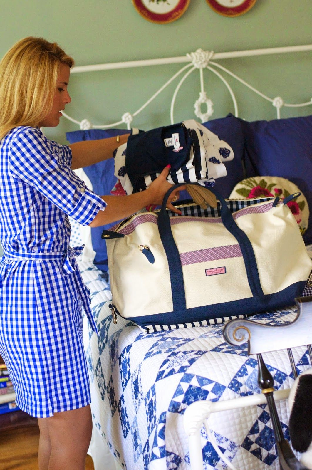 Summer Wind - packing for a weekend at the lake; love the blue & white décor, the plates above the bed, the gingham shirtdress and the weekender bag (although not the fact it's by VV)