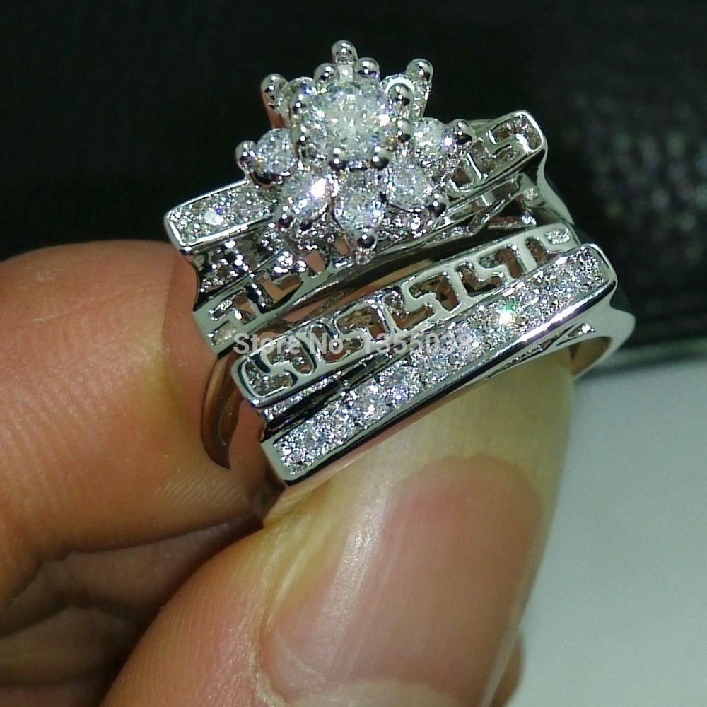 Fashion Jewelry Antique Jewellery Gem 5a Zircon Stone 10kt White Gold Filled Wedding Ring Set Sz
