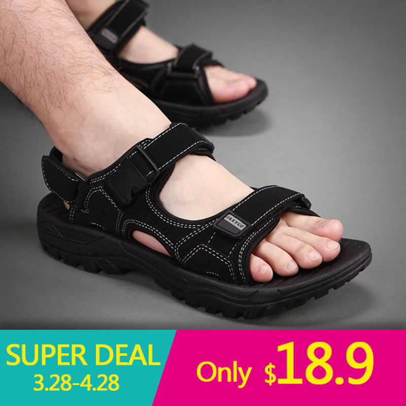 Men Sandals Genuine Leather Sandals Men Outdoor Casual Men Leather Sandals Men Beach Shoes Size 48,Black,6.5