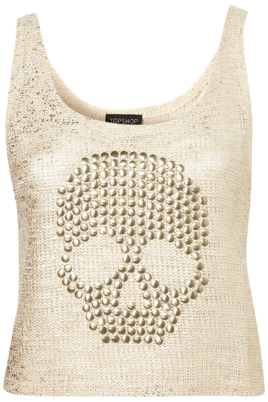 Stud Skull Crop Vest - Jersey Tops - Clothing - Topshop