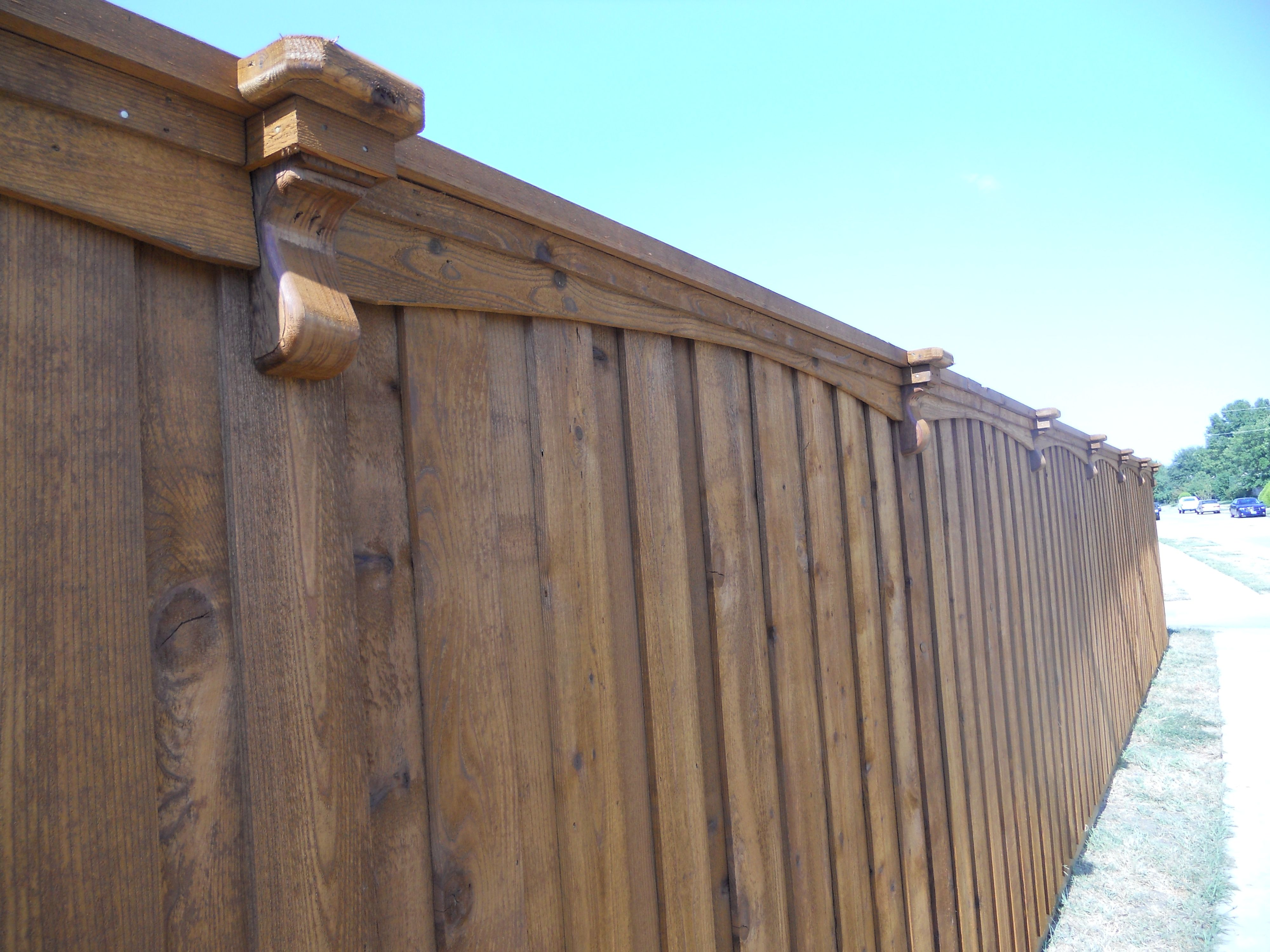 Wooden picket fence transparent backgroundgarden and gardening - Gardens Corbels And Arched Trim On Cedar Fence