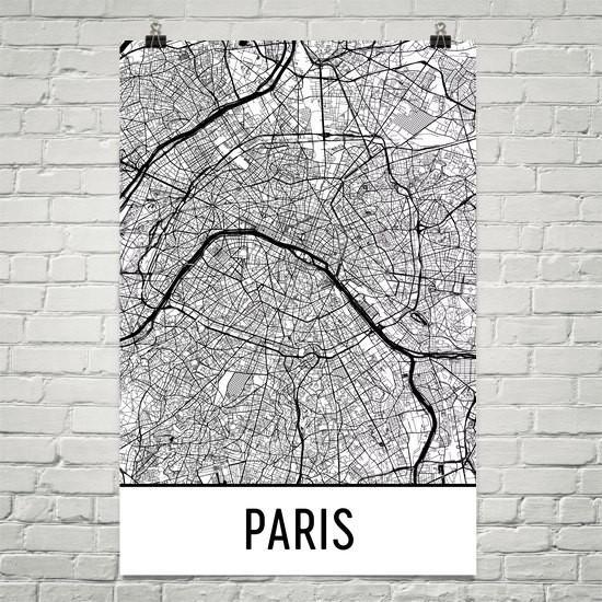 70 paris france street map poster white