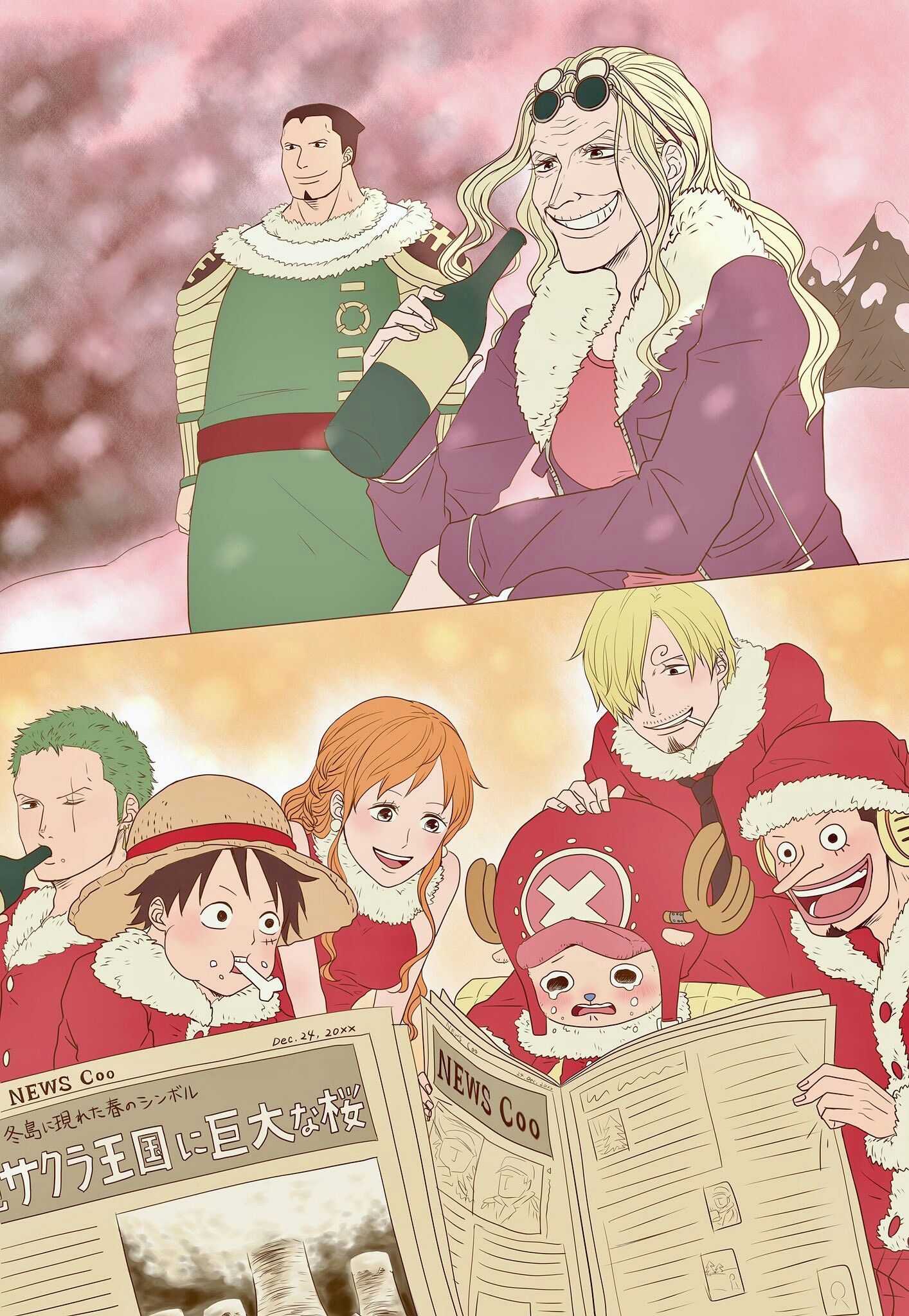 Straw Hats Reading About News In Drum Kingdom One Piece World