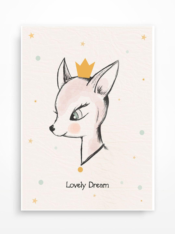 affiche biche pour chambre d 39 enfant lovely dream d coration pour enfants par pagaille et. Black Bedroom Furniture Sets. Home Design Ideas