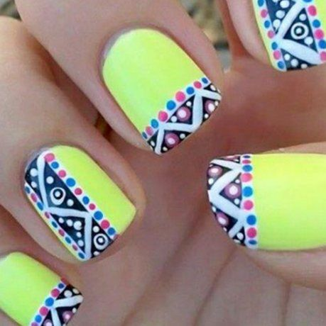 22 Wonderful Nail Designs Switch The Neon Yellow Green For A Blue And We Are In Business Aztec Nails Hairstyles Beauty Tips Hall