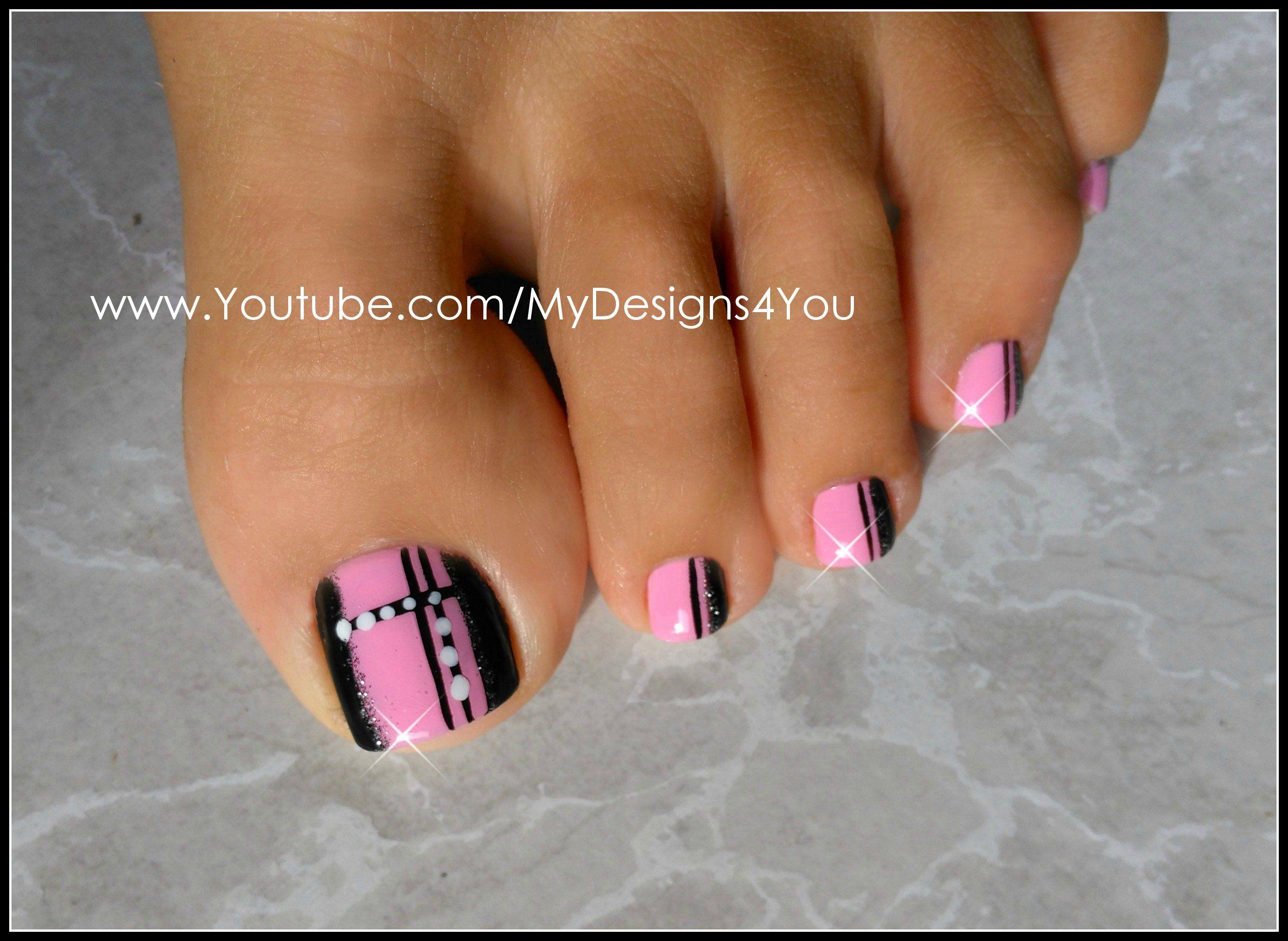Quick Toenail Design | Pink and Black Pedicure. SHOP NAIL ART ...