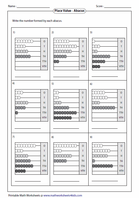 Reading Abacus Worksheets Abacus Practice Sheet Abacus Math