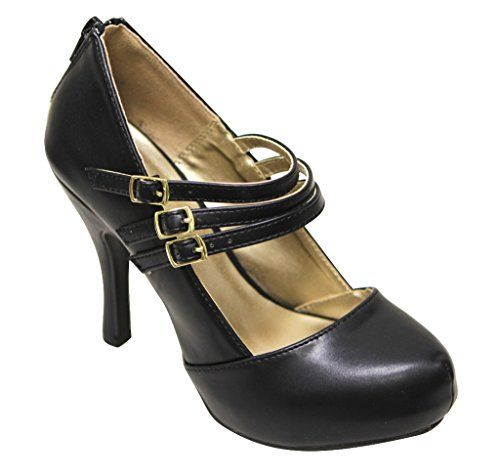 """womens black """"pumps"""" shoes size 8.5 by Qupid"""