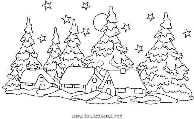 Paysage De Noel A Imprimer.Coloriage Chalets Et Maisons De Noel Et Montagne Gratuit