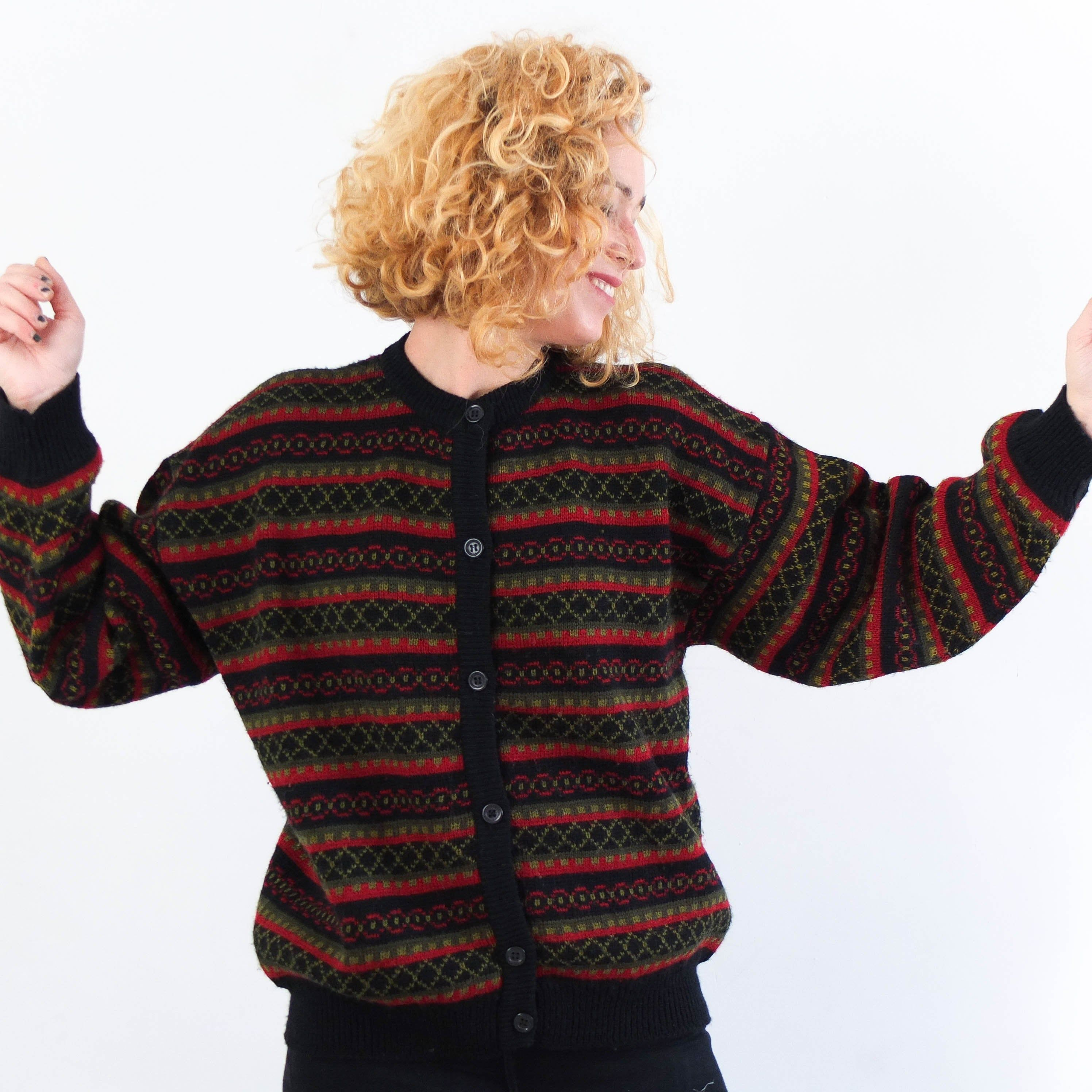80s fuzzy red sweater knit sweater oversized baggy vintage floral sweater with shoulder pads 1980s 80s v neck