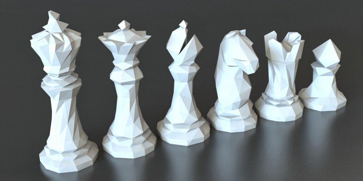 Faceted chess set 3d printer designs chess set 3d