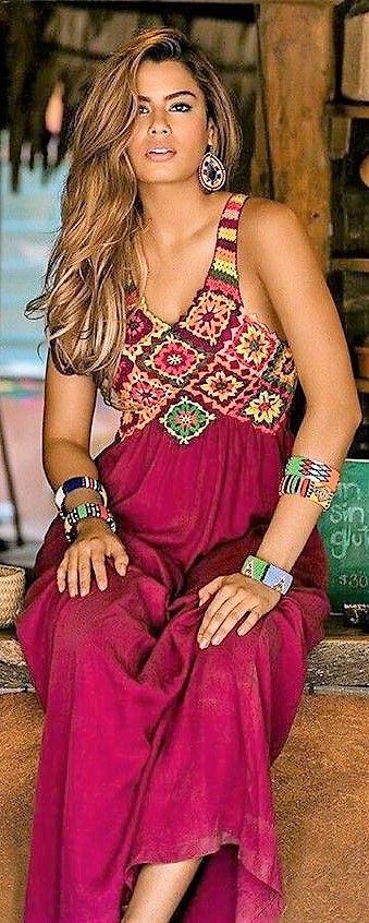 Boho-Stil Maxikleid für den Sommer in einem schönen, tiefen Rosenrosa! #maxi #…