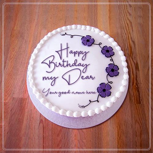 Happy Birthday My Dear Friend With Name Birthday Wishes Cake Happy Birthday Cakes Friends Birthday Cake