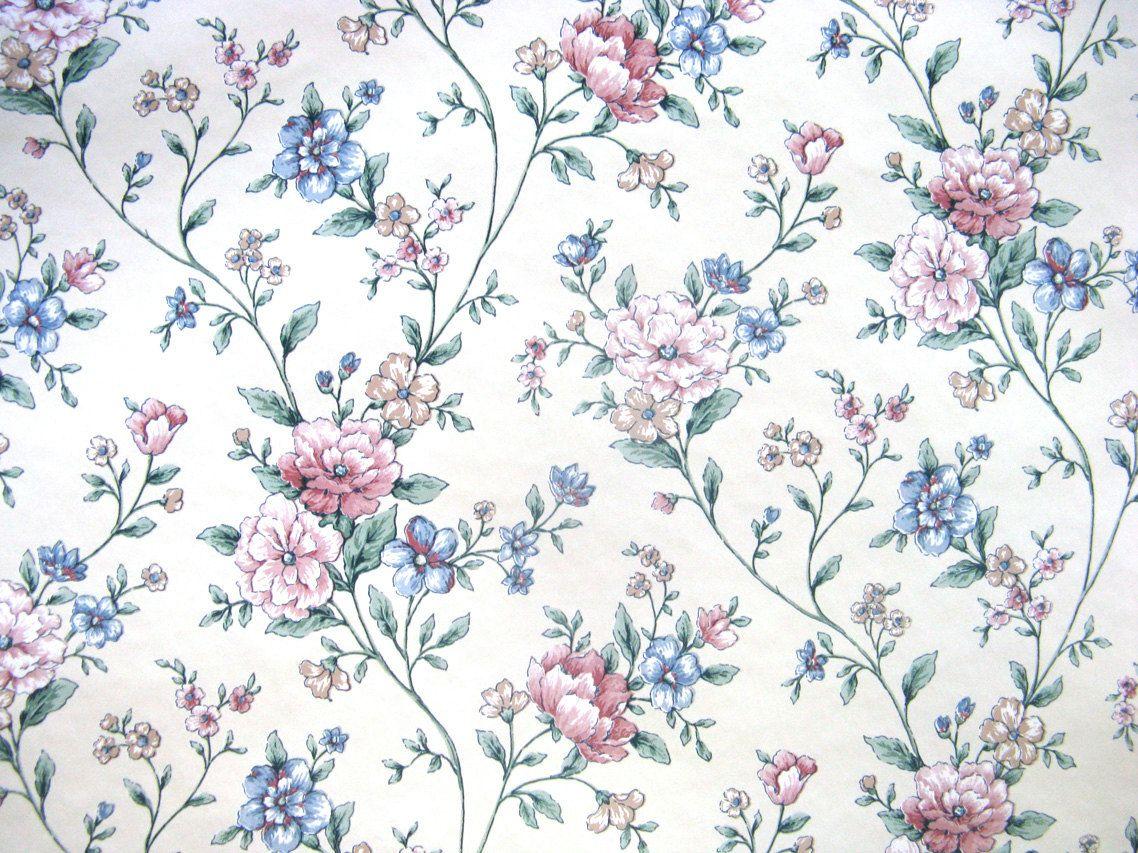Vintage Blue Vintage Floral Wallpaper Dengan Gambar