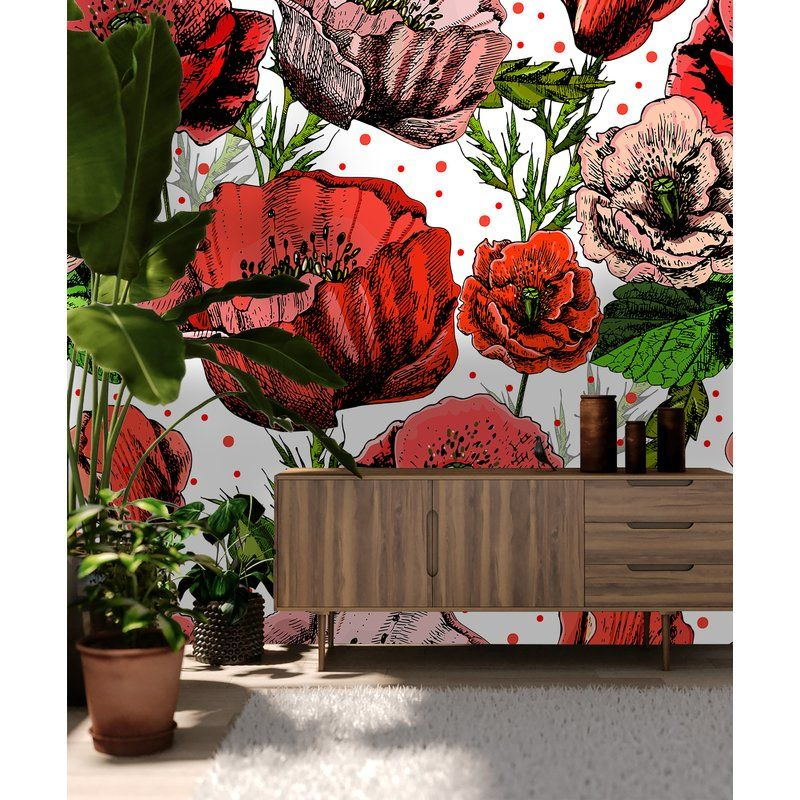 Boaz Removable Vibrant Poppy Flowers 8 33 L X 100 W Peel And Stick Wallpaper Roll Large Floral Wallpaper Peel And Stick Wallpaper Wallpaper Roll