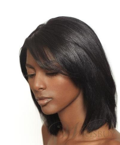 Medium Straight Lace Front Wigs Human Hair 12 Inches Human Hair