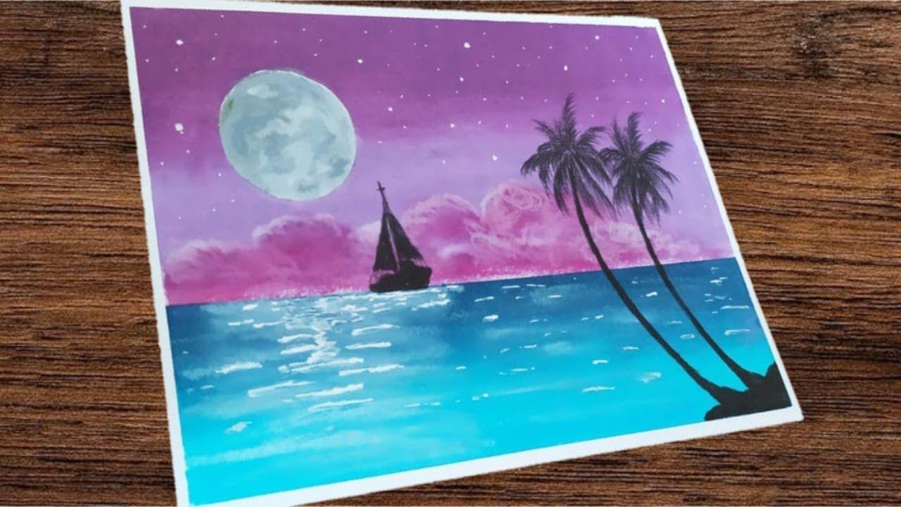 Oil Pastel Drawing 79 Cara Mudah Menggambar Pemandangan Malam Moon Seni Pemandangan Gambar