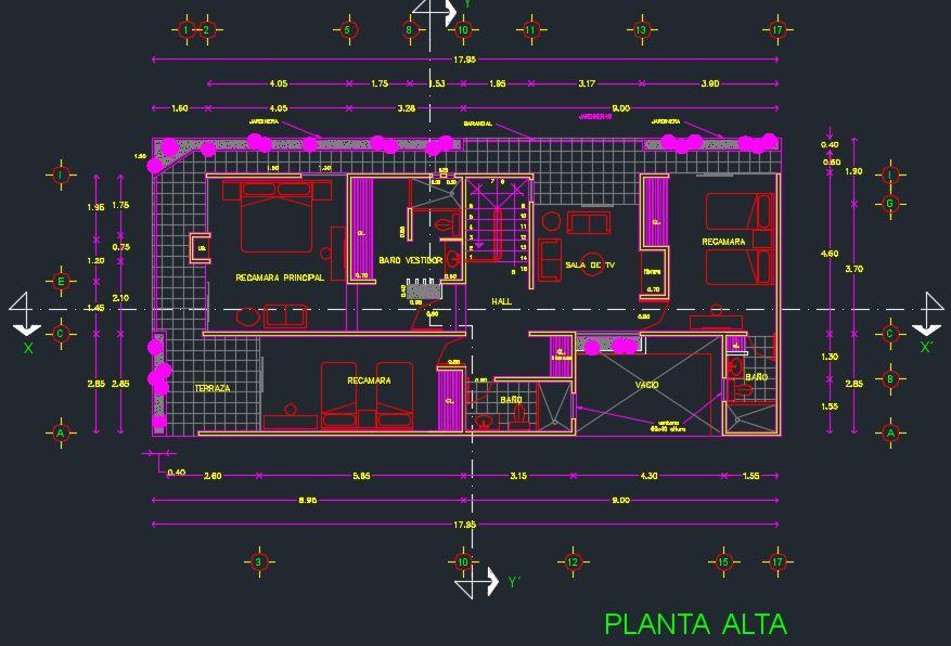 Descargar Plano De Casa De 2 Pisos Y 3 Dormitorios Gratis Dwg Planos De Casas Planos De Casa De Dos Pisos Planos