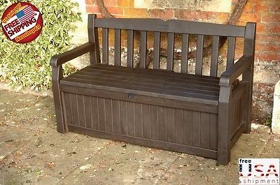 Deck Bench Storage Box Container Seat Patio Furniture