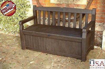 Garden Furniture With Storage details about deck bench storage box container seat patio