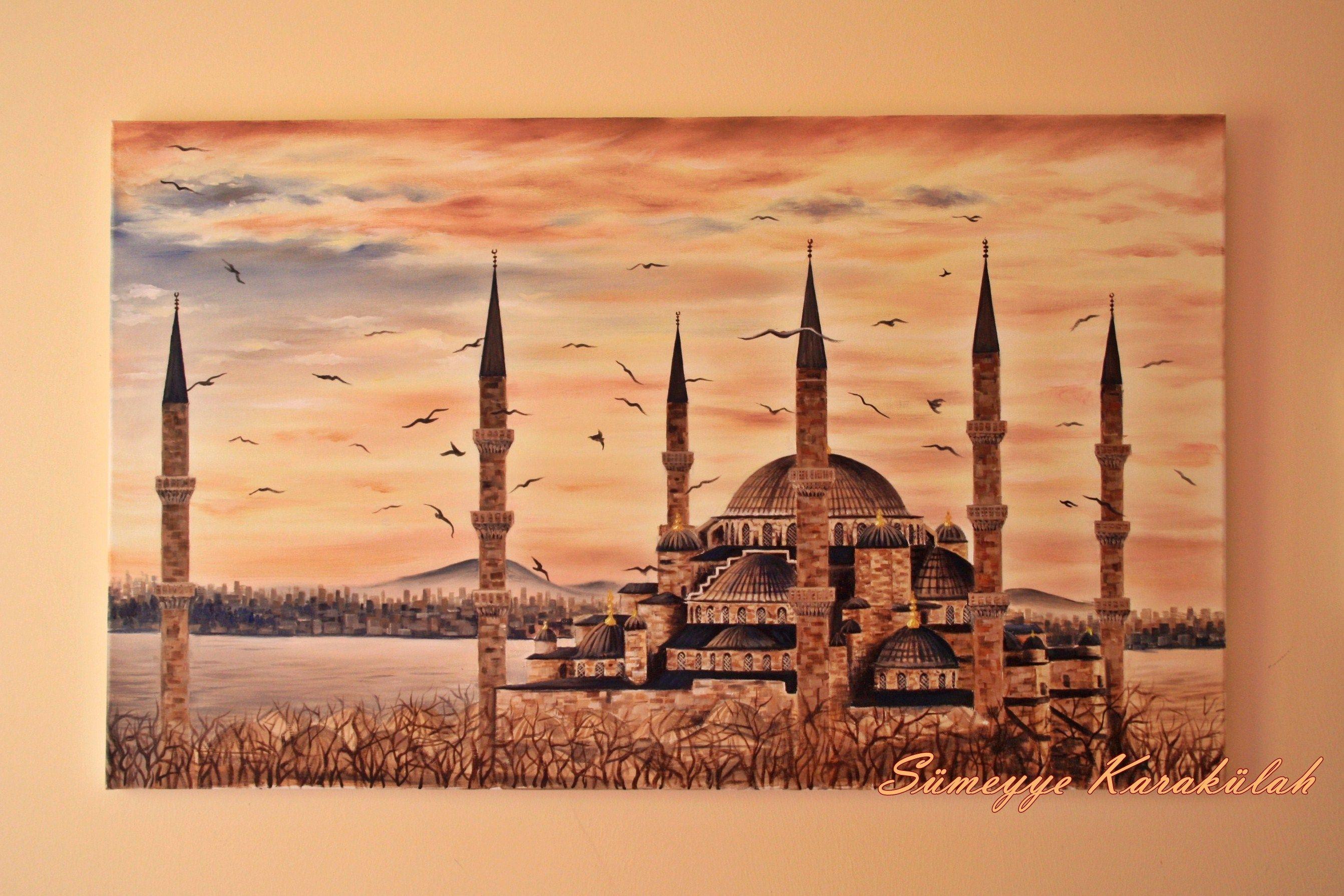 Yagliboya Sultanahmet Camii Oilpainting Istanbul Turkey Sumeyye