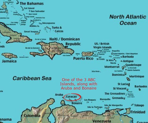 map of curacao and aruba Curacao Maps Find That Island In The Caribbean Caribbean map of curacao and aruba