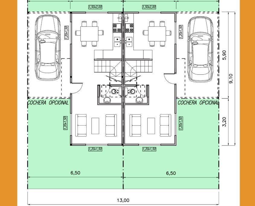 Modelo Vivienda Duplex 67,20m2 - Viviendas Tríade | Arquitectura y ...