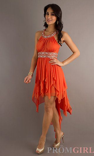 Sleeveless High Low Dress at PromGirl.com