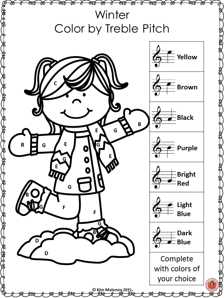 Music Coloring Pages: 26 Winter Color by Music Notes