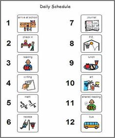 daily school visual schedule - Google Search | Daily Schedule Pics ...