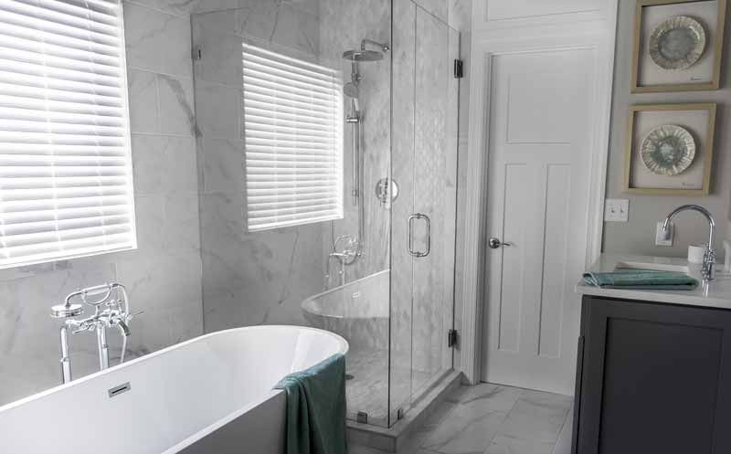 Glass Shower Enclosure Next To Free Standing Tub