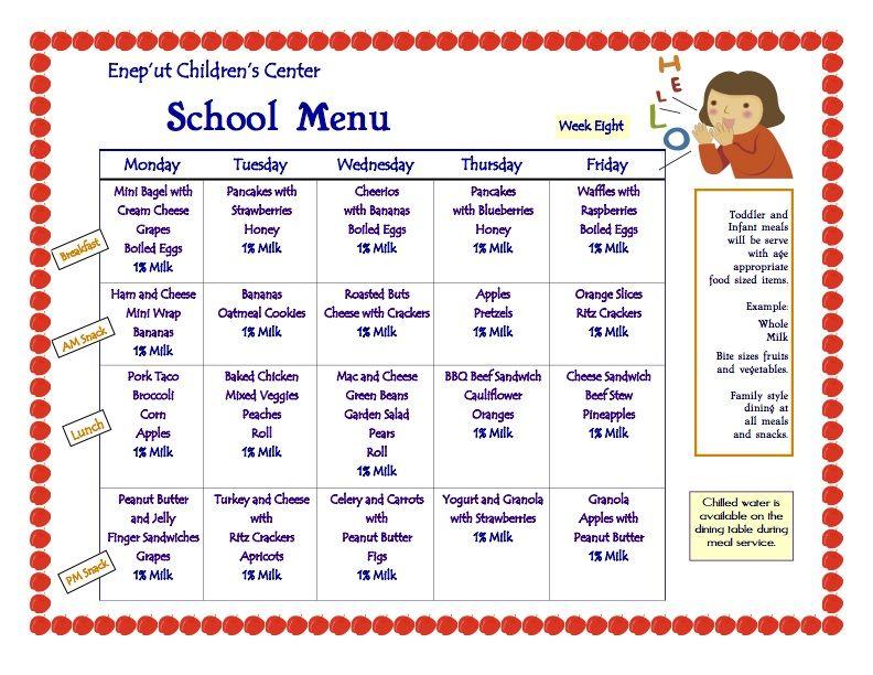 child care menu ideas | USDA Home Daycare Menus | Picky Eater ...