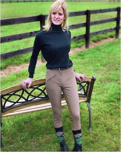"""Ladies TuffRider Ribb LowRise Full Seat Riding Breech by Gifted Horse. $48.99. TuffRider Competition LowRise Full Seat breech """"sits lower on the waist"""" for a smart look. Durability and comfort come together in this specially knitted Ribb fabric; 92% polyester, 8% spandex, great for warm weather riding. The washable UltraGripp imitation leather full seat provides a secure grip and color matched to the fabric. TuffRider has the durability, colorfastness and easy ca..."""