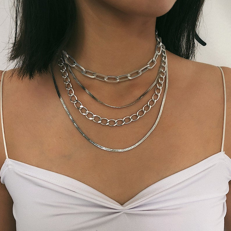 Multi Layer Gold Silver Tone Curb Link Chain Choker Necklace Chain Choker Fashion Jewelry Chain Choker Necklace