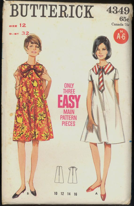 Uncut 1960s Size 12 Bust 32 Easy Tent Dress by VintagePatternsCo1 ...