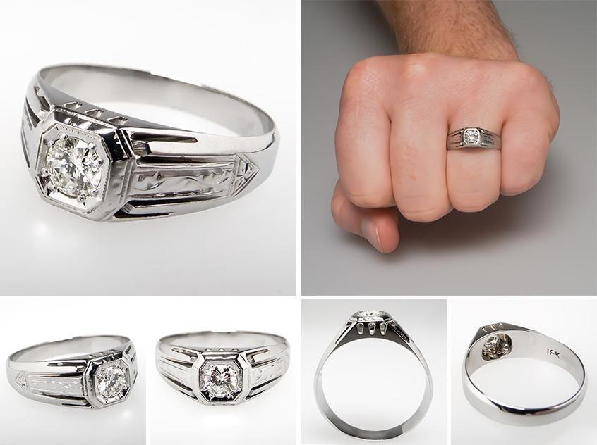 Vintage Mens Diamond Wedding Band Ring 18k White Gold Mens Diamond Wedding Bands Vintage Diamond Wedding Bands Mens Wedding Bands Vintage