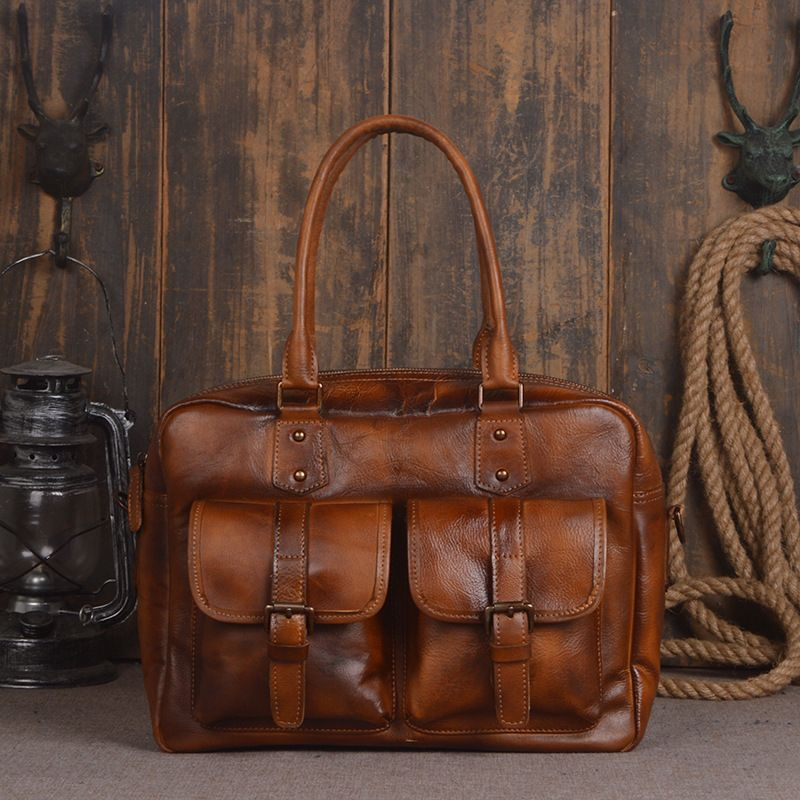 ef2ae96f7d 2016 Sale Direct Selling Men s Bags Genuine Leather Handbags Vintage Totes  Briefcases Natural Cow Shoulder Bag Male Messenger. Yesterday s price  US   221.00 ...