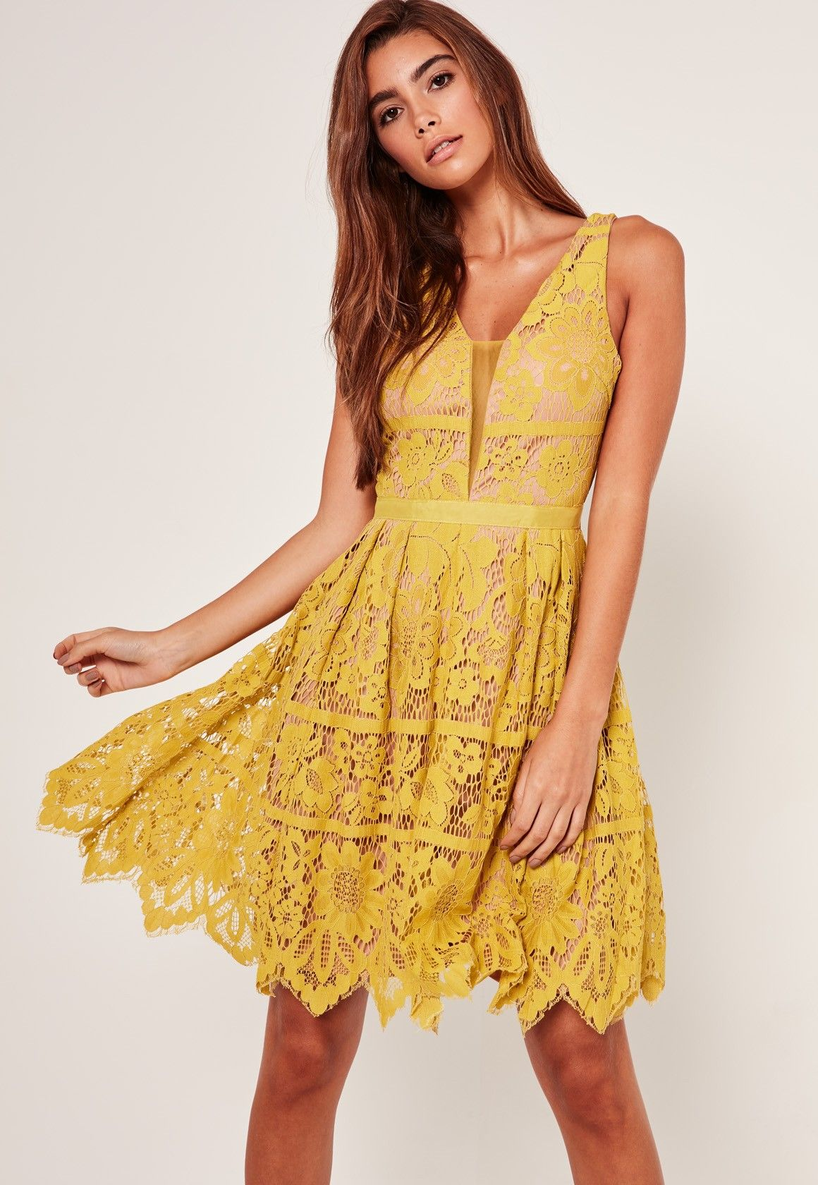 27832659b8ac Look lavish in lace with this standout chartreuse yellow midi skater dress.