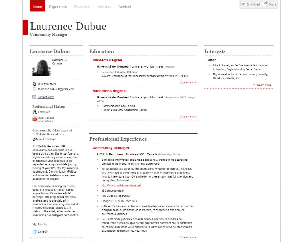 Un Model De Cv Quebequois Quebec Forum Immigrer Modeles De Lettres Cv Gratuit Exemple Lettre Motivation