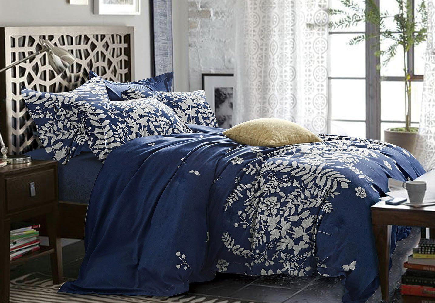 Navy Blue Comforter Set Queen 3piece Gray Floral And Tree Leaves Pattern Printed Soft Microfibe Navy Blue Duvet Cover Blue Duvet Cover Navy Blue Comforter Sets
