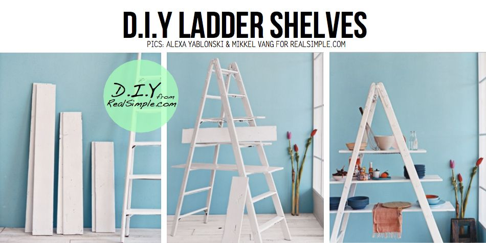 This would be great for Ethan's room, and all his treasures! DIY White Ladder shelves