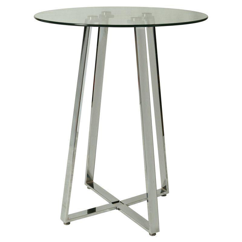 Round Glass Top Pub Table   Chrome   QLNS520793232