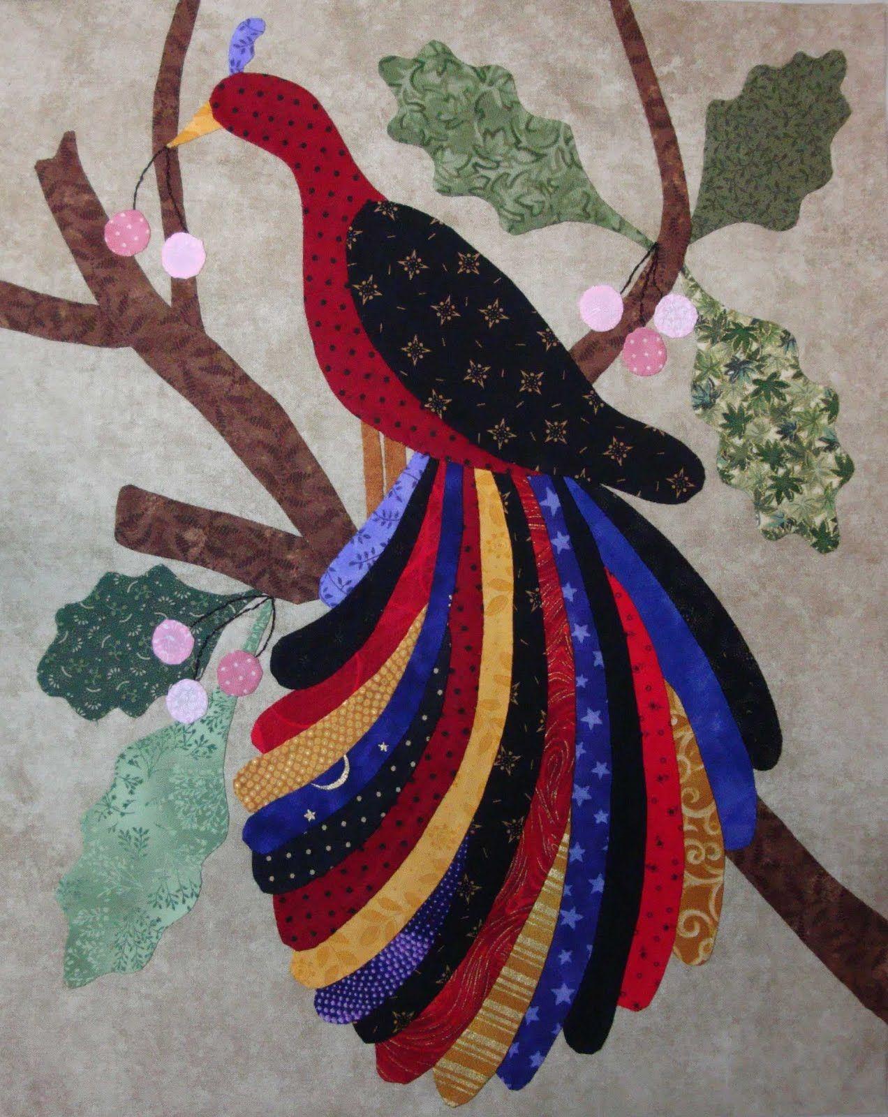 Inspiration For Wool Felt Applique Peacock Quilt