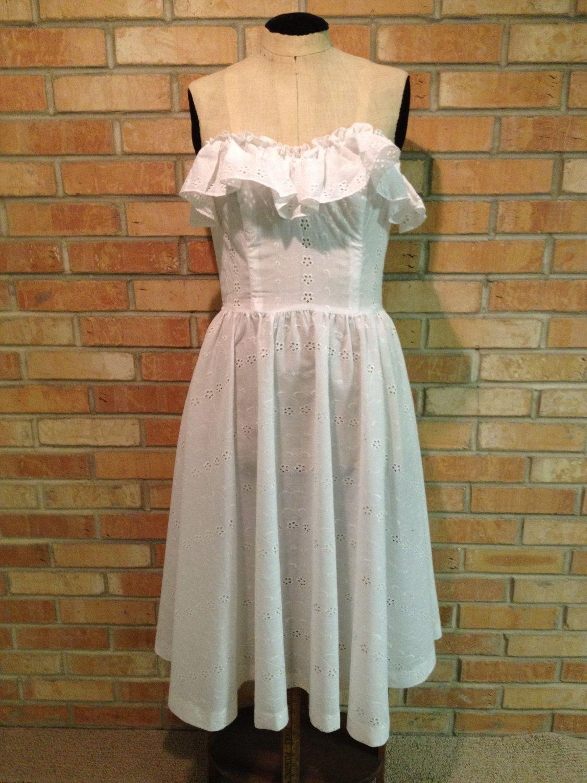 Vintage boho chic cotton blend strapless white dress by jolie madame