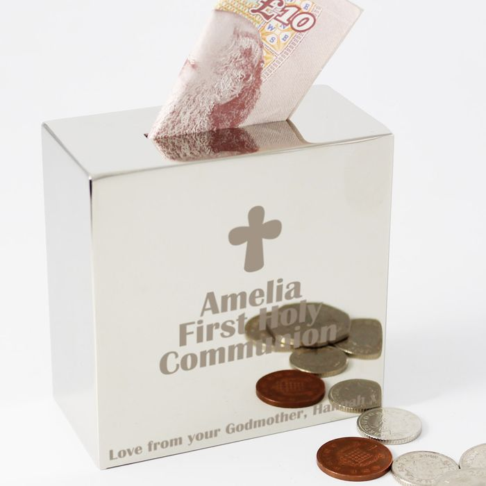 Personalised Silver Square First Communion Money Box With Cross Modern Stylish Gift For Boys And S