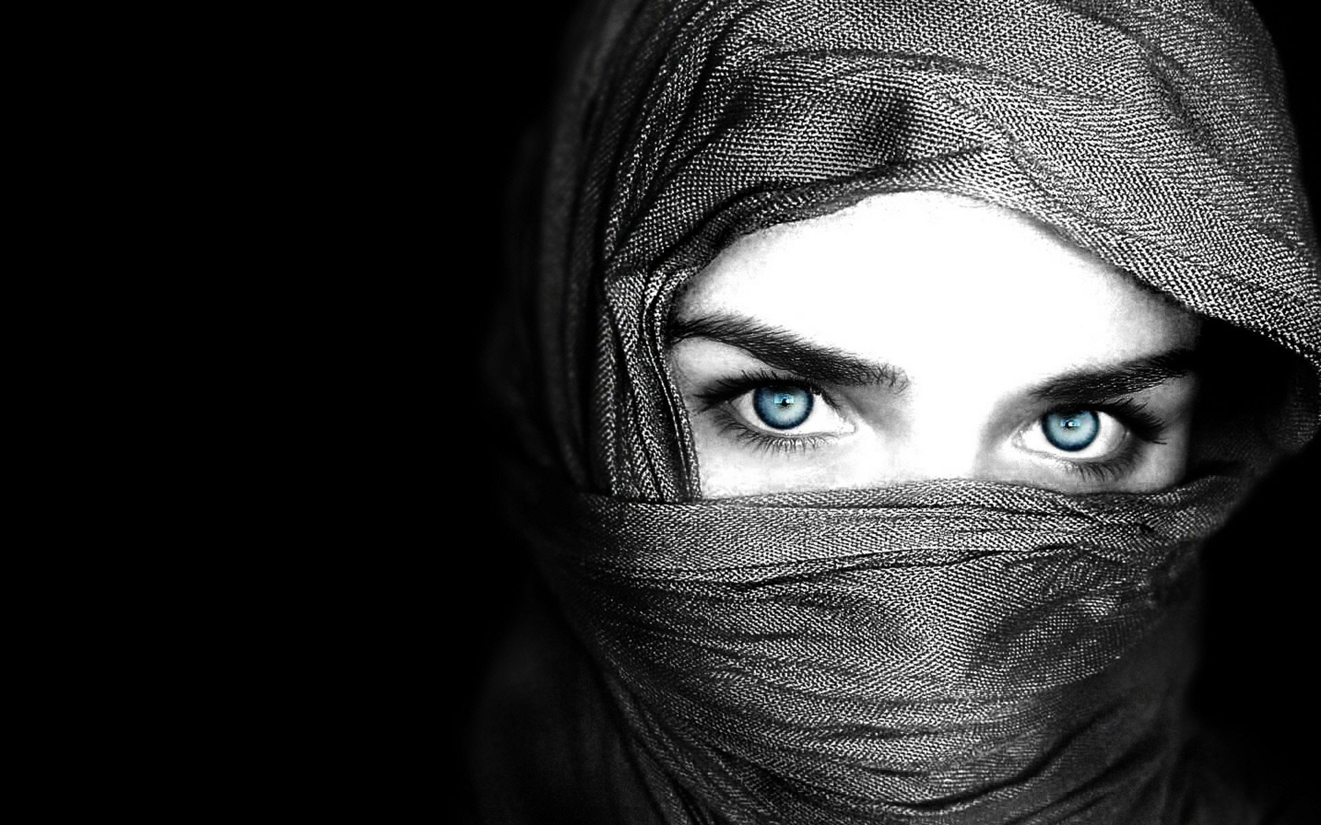Black and white photography blue eyes covered face wallpaper and photo high resolution download
