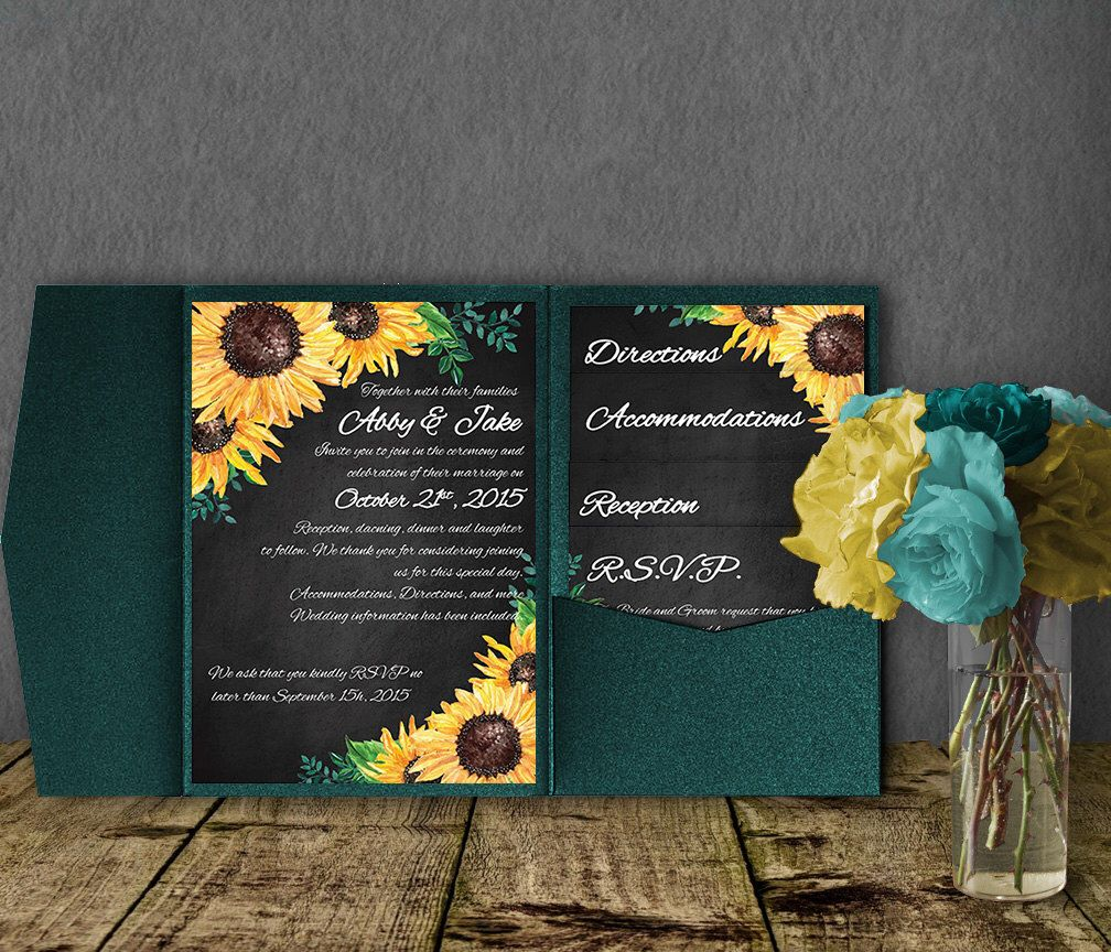 Sunflower Wedding Invitation Template Pocketfold Invitation Suite