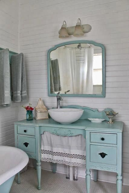 Aqua country cottage bathroom, furniture vanity The Vintage House