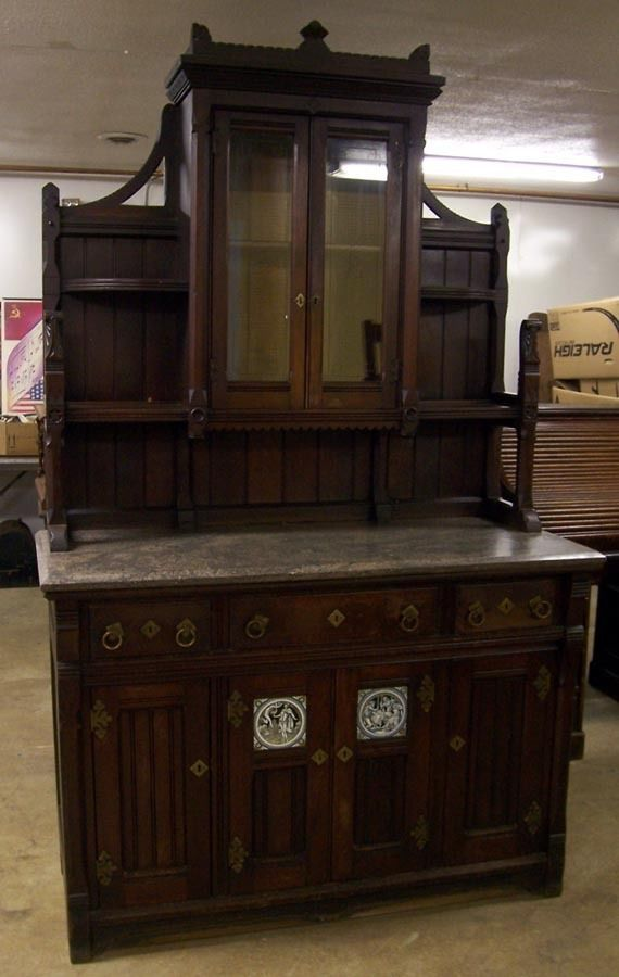Victorian Walnut Marble Top Buffet Sideboard China Cabinet Restaurant Furniture
