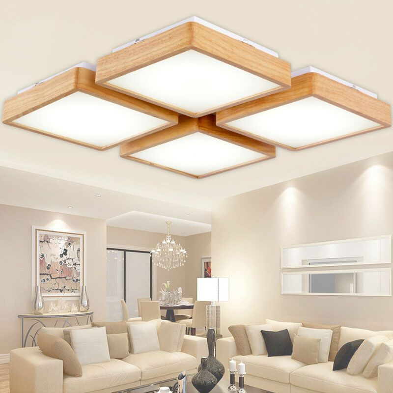 New Creative OAK Modern Led Ceiling Lights For Living Room Bedroom Lampara  Techo Wooden Led Ceiling Part 46